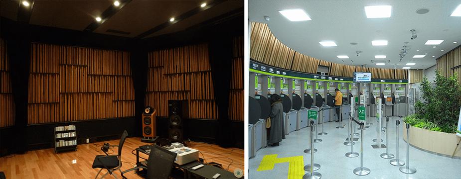 (左)音響実験室 (右)音響実験室